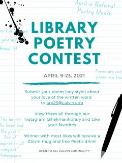 Library Poetry Contest, Apr. 9-23